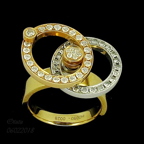 750 Yellow White Gold Ring with 2 Rotating Diamond Rings 转运戒指 (Toa Payoh)