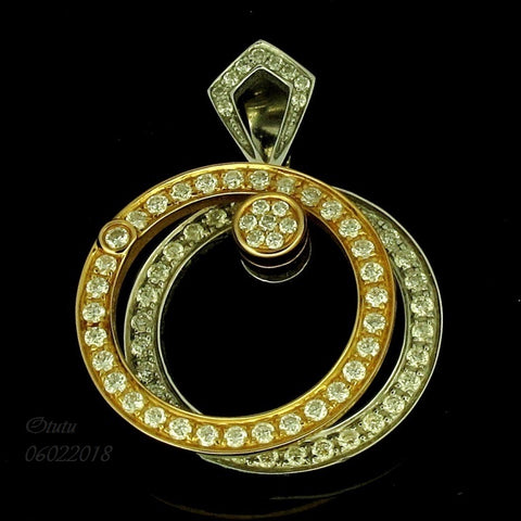 750 Yellow White Gold Pendant with 2 Rotating Diamond Rings 转运吊坠 (Toa Payoh)