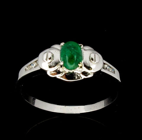 750 White Gold Ring set with Emerald and Diamonds (Toa Payoh)