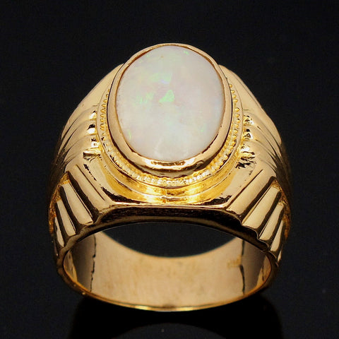 Men 916 Yellow Gold Ring set with Opal  (Toa Payoh)