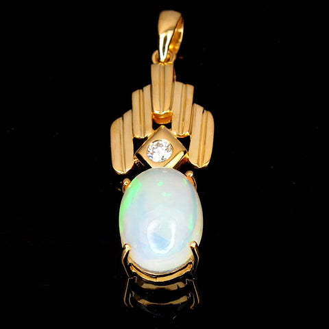 18K Yellow Gold Pendant set with Opal  (Toa Payoh)