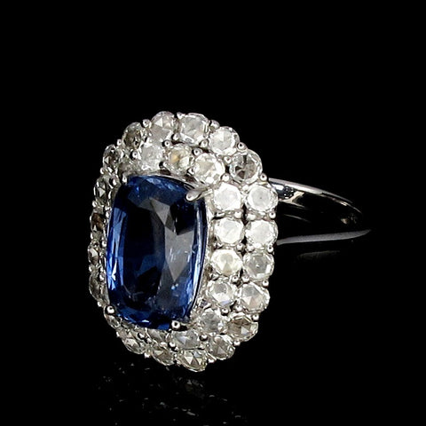 18K White Gold Ring set with a Certified  Blue Sapphire and 24 Diamonds   (Toa Payoh)