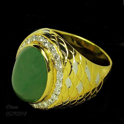 916 Yellow Gold with Certified Jadeite Ring with Diamonds 认证翡翠钻石戒指(Toa Payoh)