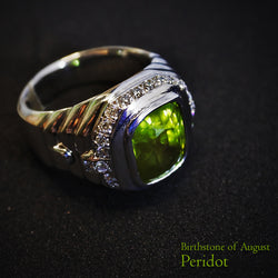 18K White Gold Peridot With Diamonds Ring (Tampines)