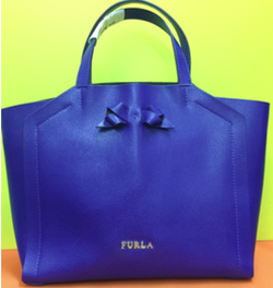 Furla Electric Blue Leather Tote Bag - Preloved (Available At Cash Converters Tampines)