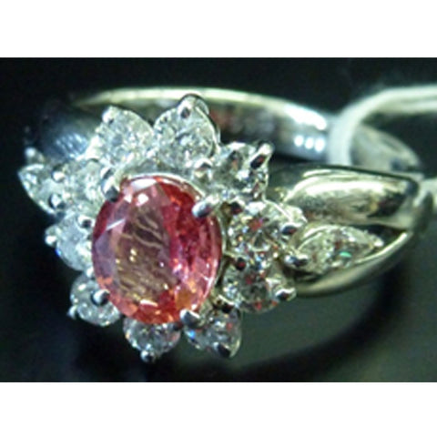 ONLY AVAILABLE OFFLINE - Diamond ring with pink gemstone