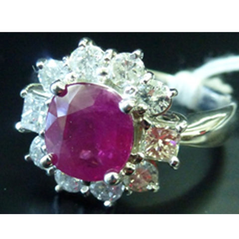 ONLY AVAILABLE OFFLINE - Diamond ring with pink gemstone.