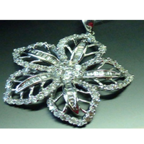 ONLY AVAILABLE OFFLINE - 5 petal flower diamond embellished pendant