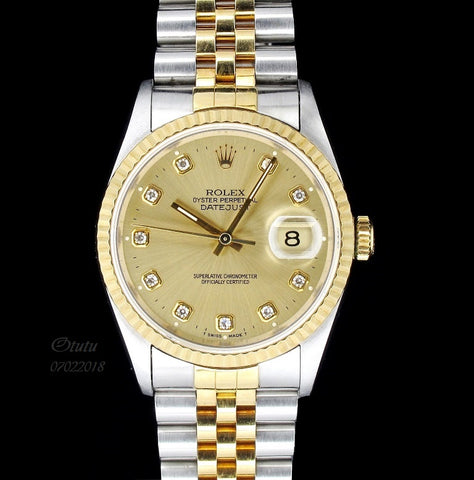 Rolex Men 16233 with 10 Diamonds and Half Gold Bracelet  (Toa Payoh)