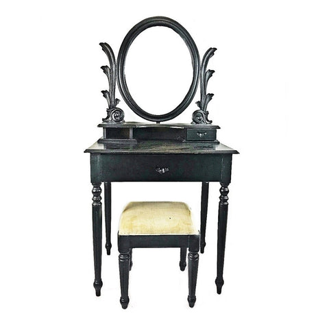 CLEARANCE: BLACK DRESSING TABLE WITH STOOL (Kallang Bahru)