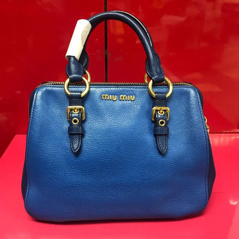ONLY AVAILABLE AT OUR TOA PAYOH OUTLET - MIUMIU LADIES BLUE HANDBAG