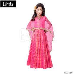 Eshals Stylish Long Gown Partywear-Pink -2279