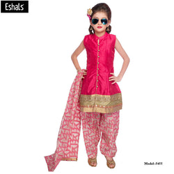 Eshals Pink Patiala Suit For Girls -5455-P