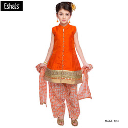 Eshals Orange Patiala Suit For Girls -5455-O