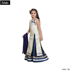 Eshals Off White and Dark Blue Kurta Lehenga -960