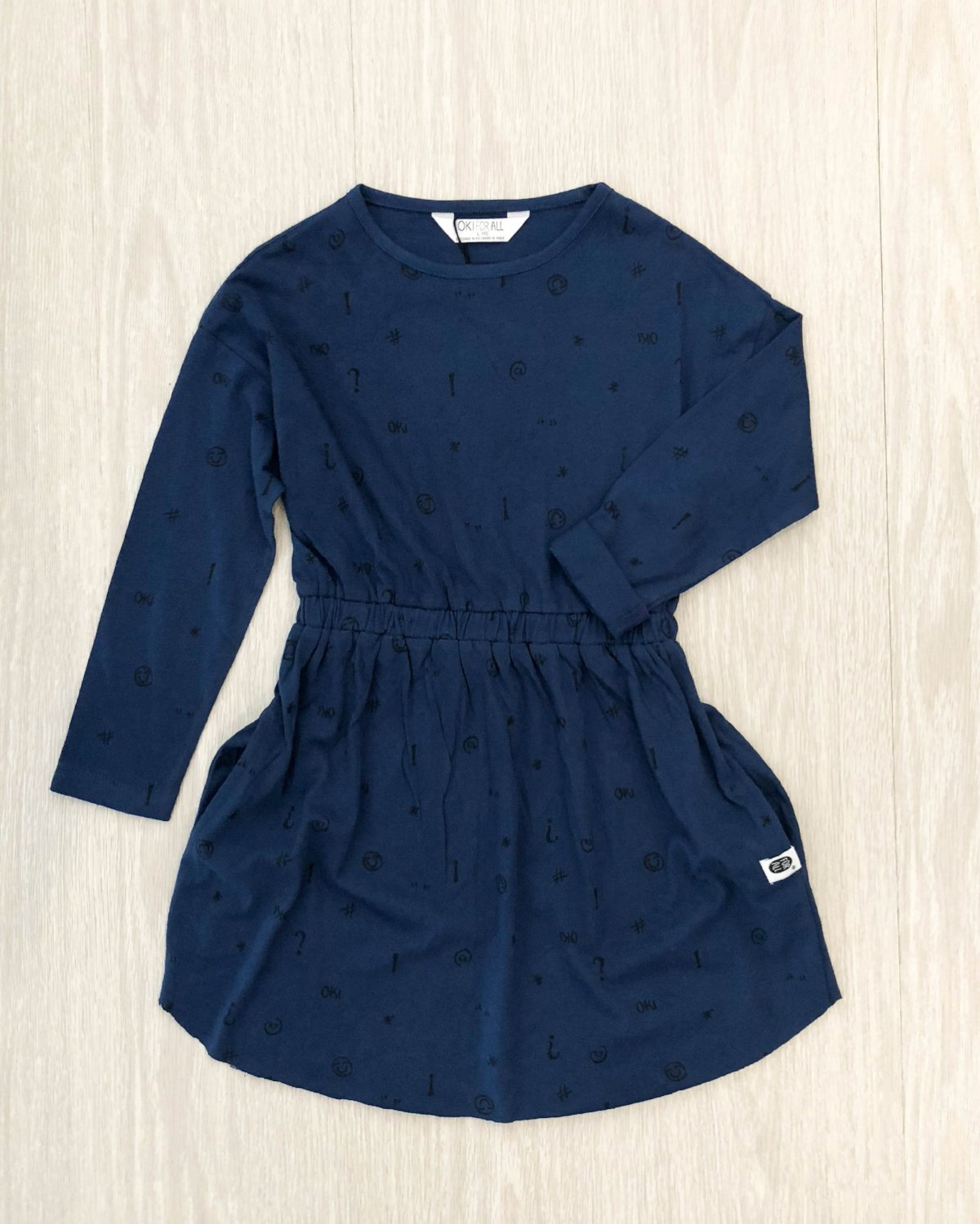 Organic Navy Printed Dress kids fashion OKI