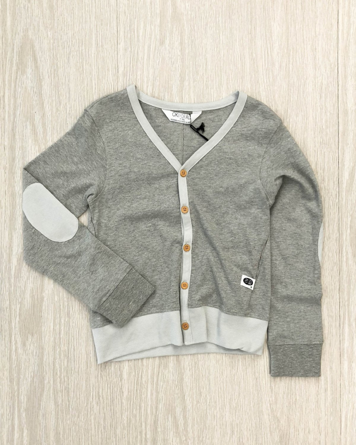 Organic Cotton Cardigan grey marle flat kids fashion OKI