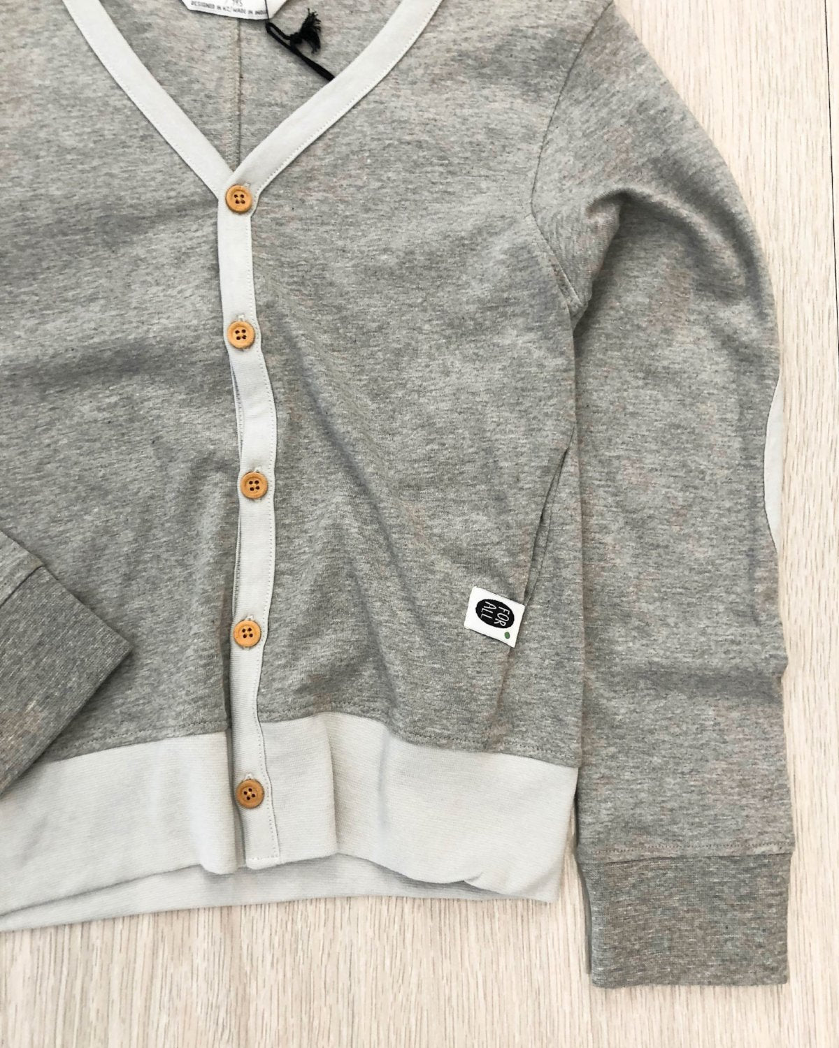 Organic Cotton Cardigan grey marle detail kids fashion OKI