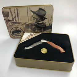 Fred Bear Commemorative Knife & Tin set