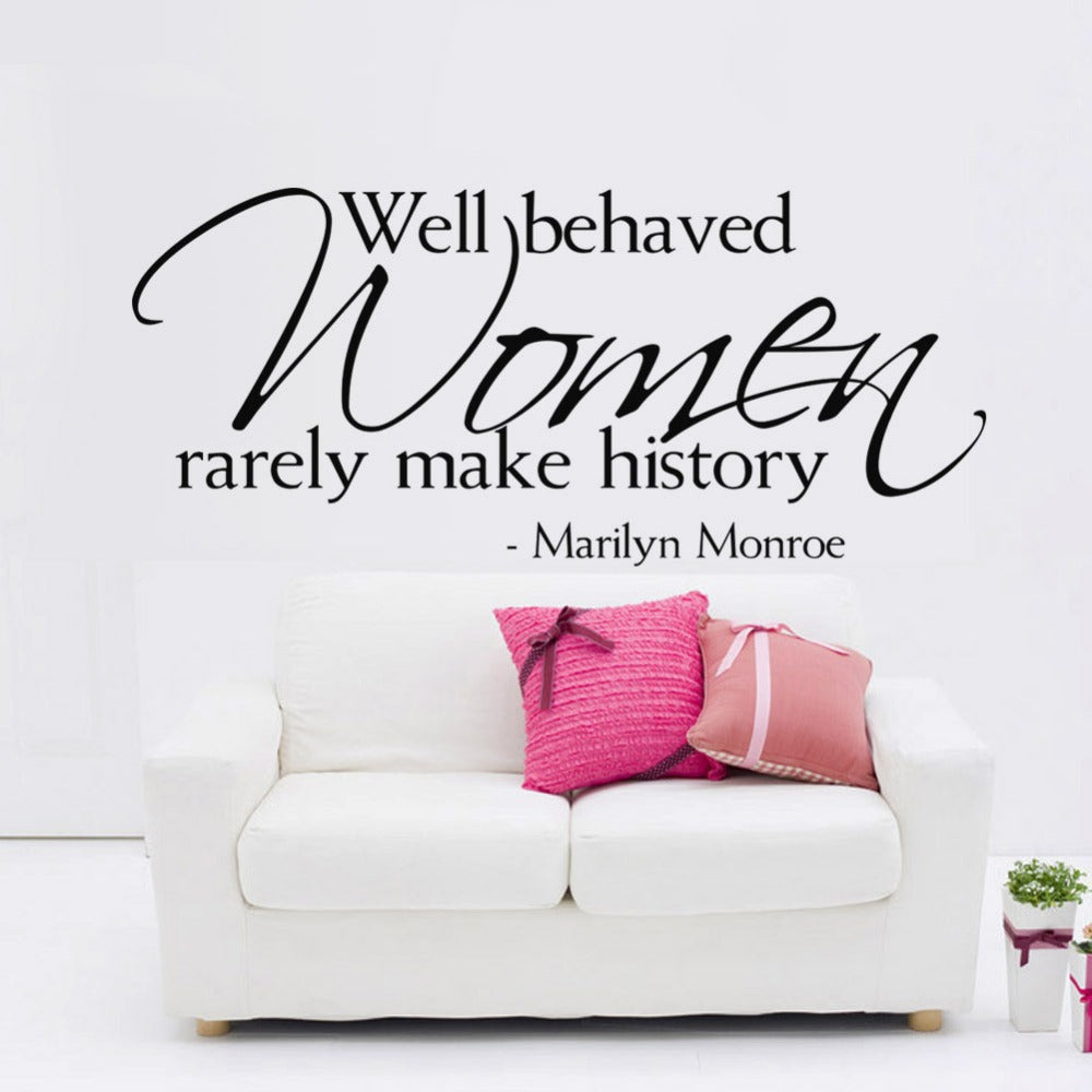 Women Make History Marilyn Monroe Quotes Wall Stickers Kids Room