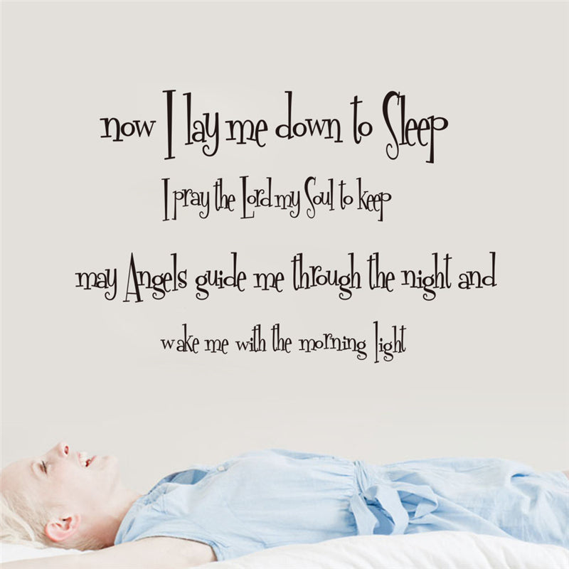 God Bless Sleep English Pray Quotes Wall Stickers Kids Room Bedroom
