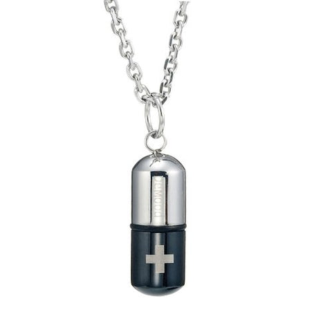 "Mens Stainless Steel Pill Cross Necklace Pendant - Black & Silver, 21"" Inches Chain"