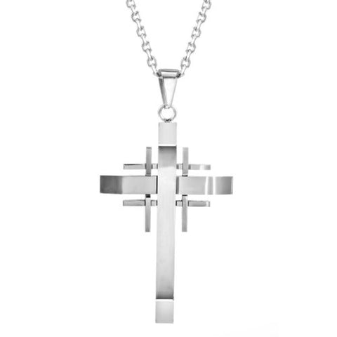 "Mens Polished Stainless Steel Silver Necklace Cross Pendant 21"" Chain"