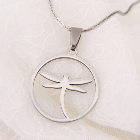 Unique Dragonfly Jewelry Shiny Stainless Steel Chain Necklace Pendant for Women 20""