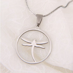 Unique Dragonfly Jewelry Shiny Stainless Steel Chain Necklace Pendant for Women 20
