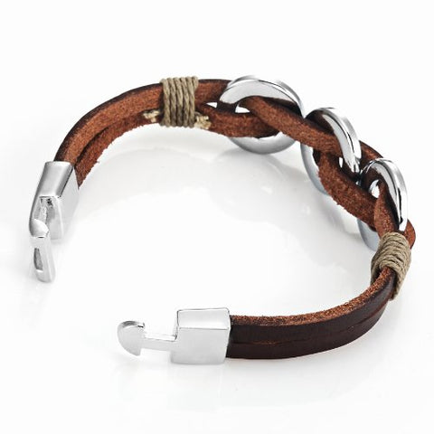 "Chic Braided Brown Genuine Leather Bracelet with Stainless Steel Silver 8"" (New Secure Clasp)"