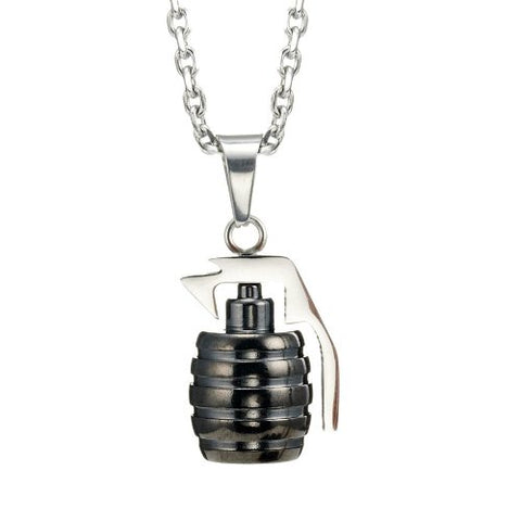 Stainless Steel Grenade Pendant Military Style Mens Necklace (Silver) 21 inches Chain