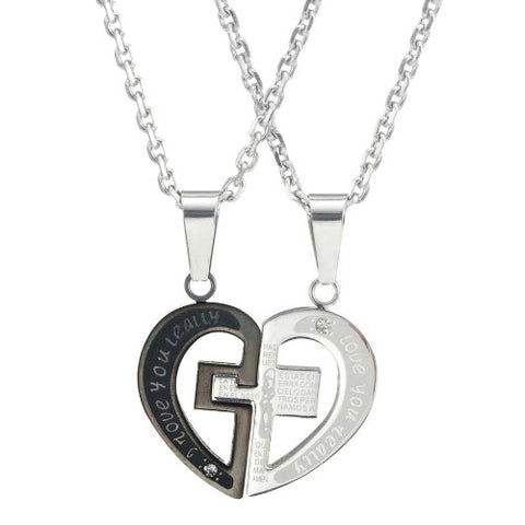 "Stunning 2pcs His & Hers Couples Heart Cross Pendant Love Necklace Set Lover Valentine 18"" & 21"" Chain"