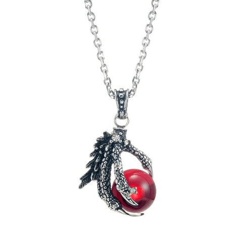 Vintage Men's Gothic Biker Tribal Stainless Steel Dragon Claw Pendant Necklace, Red Black Silver
