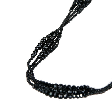 Vintage Midnight Black Sparkly Beaded Necklace Jewelry (Very Long - 37 Inches)