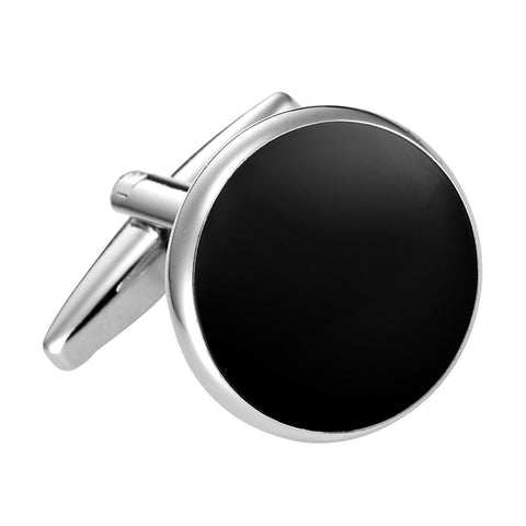 Urban Jewelry Formal Black Cufflinks with Shiny Stainless Steel Silver Trimming