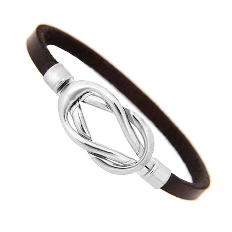 Stylish Black Leather Bracelet Stainless Steel Jewelry for Women and Men