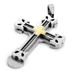 "Urban Jewelry NYC Silver Gold Stainless Steel Large Heavy Men's Cross Necklace Pendant 21"" inches Chain"