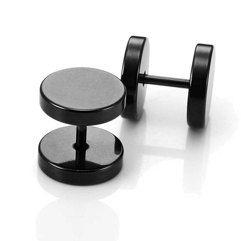 Stainless Steel Men's Stud Earrings Round Barbell Screw Back Ear Set, 2pcs, Color Black, 10mm