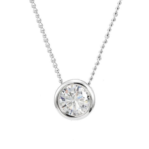 "Clear Cubic Zirconia Pendant 8mm, Necklace 18"" Inch Chain, Swarovski Elements"