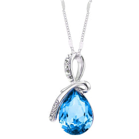 Eternal Love Teardrop Swarovski Elements Pendant Necklace - Ocean Blue
