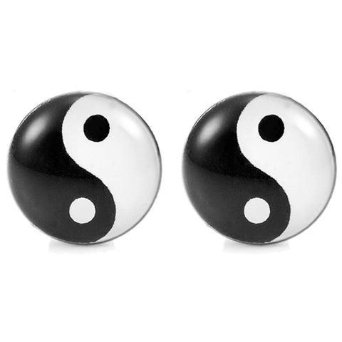 Chic Unisex Yin and Yang Stainless Steel Silver Stud Earrings, Color Black and White