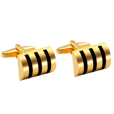 Urban Jewelry Attractive Stainless Steel Whiskey Barrel Gold Cufflinks for Men