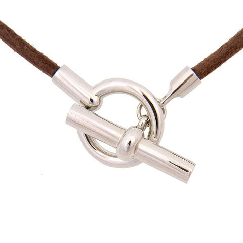 Unique Genuine Leather Cord and Stainless Steel Necklace Women Chain (Walnut Brown)