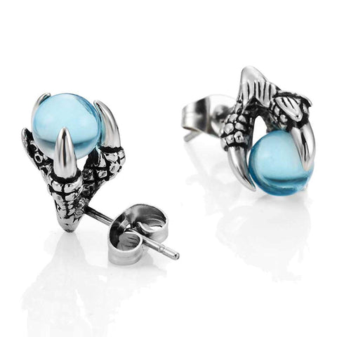 Vintage Dragon Claw Mens Stud Earrings Stainless Steel, Color Silver Blue