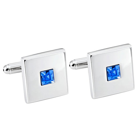 Urban Jewelry Stainless Steel Silver Color Square Cufflinks with Blue Cubic Zirconia Stone