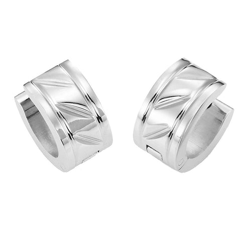Unique 316L Stainless Steel Huggie Hoop Earrings for Men (7mm Width, Silver)