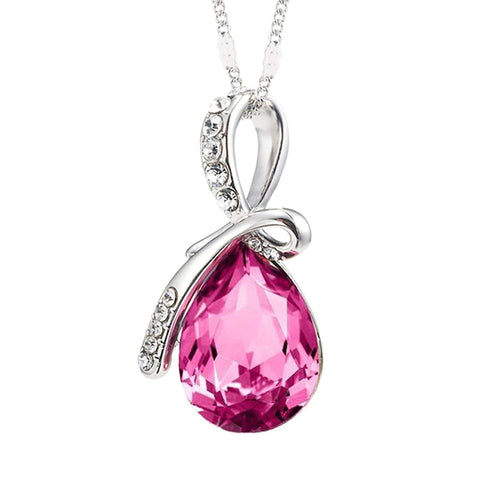 Eternal Love Teardrop Swarovski Elements Pendant Necklace - Rose Pink
