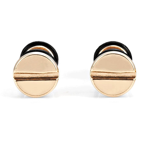 Cool Stainless Steel Gold Men's Stud Screw Earrings for men, 7mm Diameter (with Branded Gift Box)