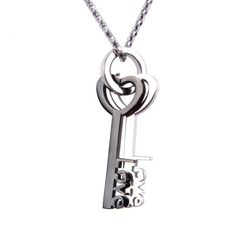 Lovers Key to Your Heart Stainless Steel Pendant Chain Necklace 21""