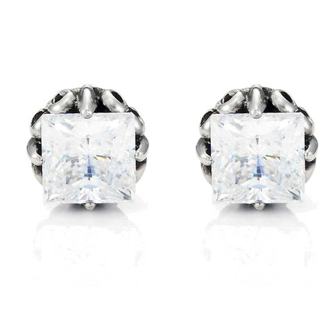 Vintage Men's Stud Earrings Stainless Steel Rectangular Cubic Zirconia,(Silver, Black, Clear CZ)